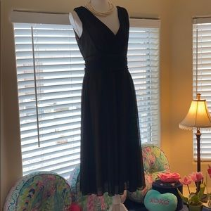 Connected Apparel sheer black, ruched waist dress